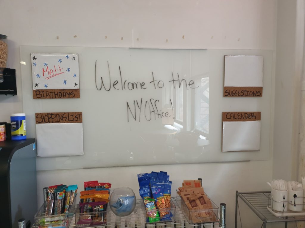 Welcome message to global team member in the Welocalize New York office location.